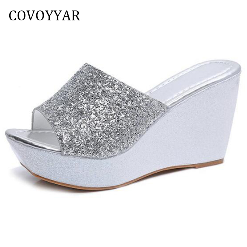 COVOYYAR Bling Wedge Shoes Women Slippers 2019 Fashion ...