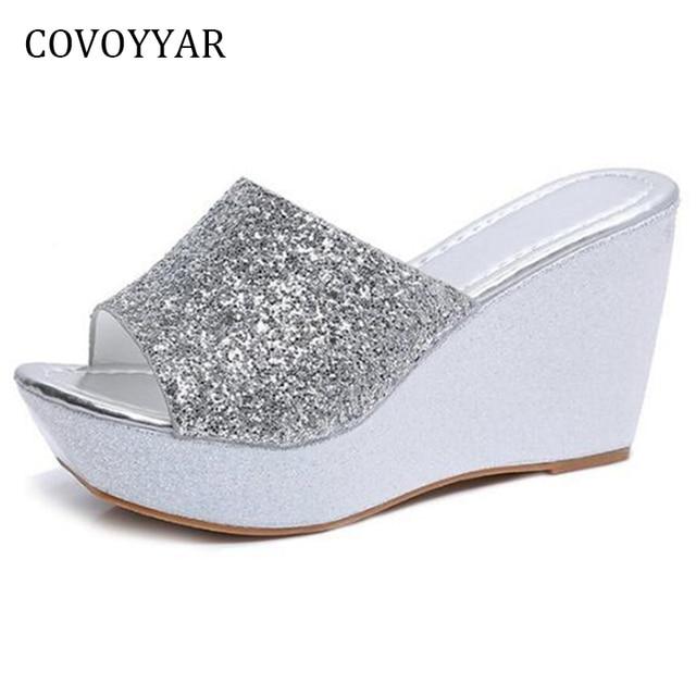 COVOYYAR Glitter de Bling Sapatos de Cunha Mulheres Chinelos 2019 Moda Verão Mulheres Sandálias Plataforma Senhoras de Salto Alto WSS920