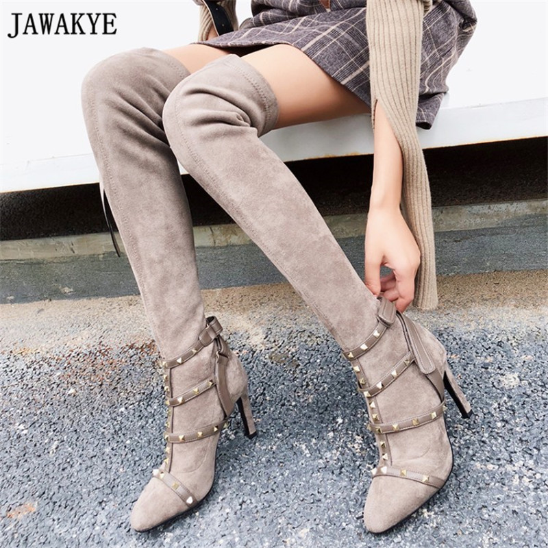 Women Thigh High Stretch Boots strappy metal rivets studded Long Booties Mujer Female High Heel stretch over the knee boots high stretch u contour pouch long johns