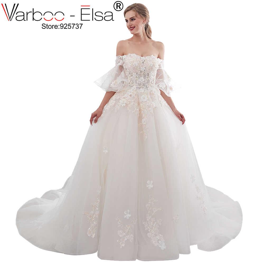Varboo Elsa 2018 Simple White Beach Wedding Dress Appliqued
