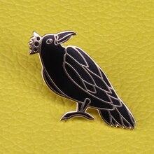 Король-Ворон, эмаль, булавка, черная птица, брошь, ужас, Ворон, значок, готика, животное, ювелирные изделия, для мужчин, женщин, рубашка, куртка, аксессуар
