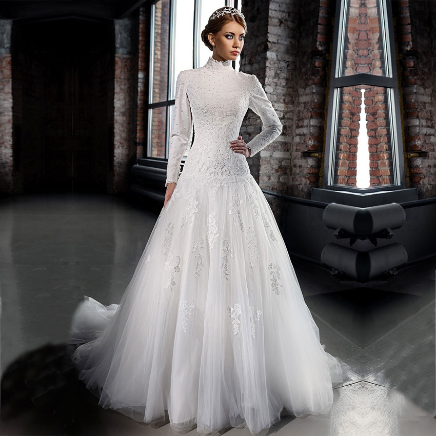 Long Sleeve Wedding Gowns: Vestidos De Noiva 2016 Romantic Bridal Dresses Arabic High