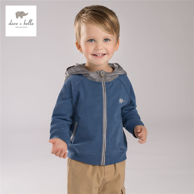 DB4131 davebella autumn baby boys hooded outerwear boys blue coat kid outerwear
