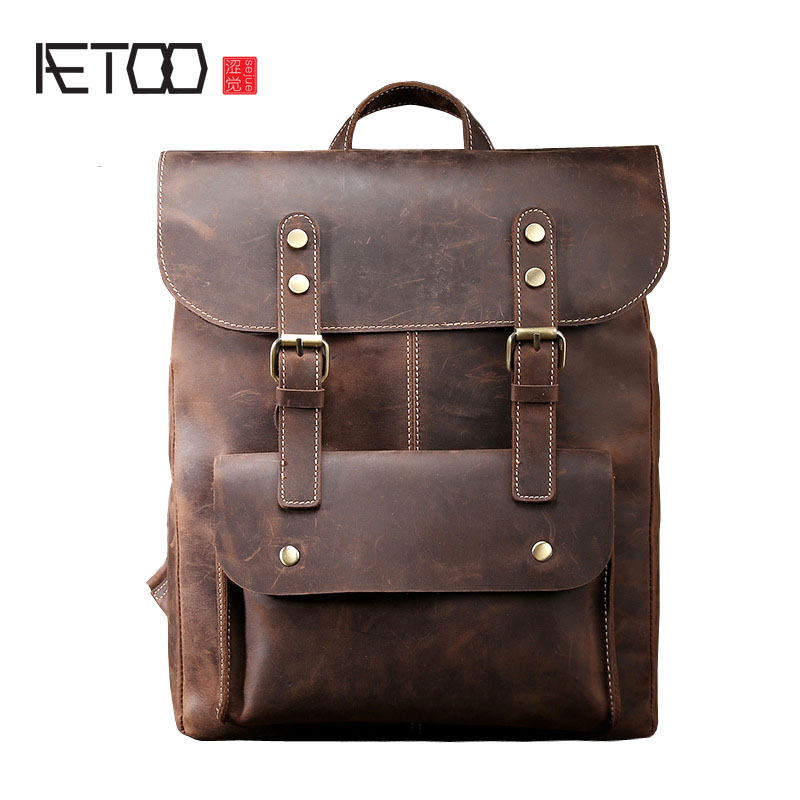 AETOO Men's Shoulders Bag Retro Crazy Horse Leather Bag Backpack Leather Leather Casual Men Bag Retro Computer Case aetoo crazy horse leather leather classic classic men s 14 inch business portable computer bag