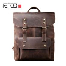 AETOO Men s Shoulders Bag Retro Crazy Horse Leather Bag Backpack Leather Leather Casual Men Bag