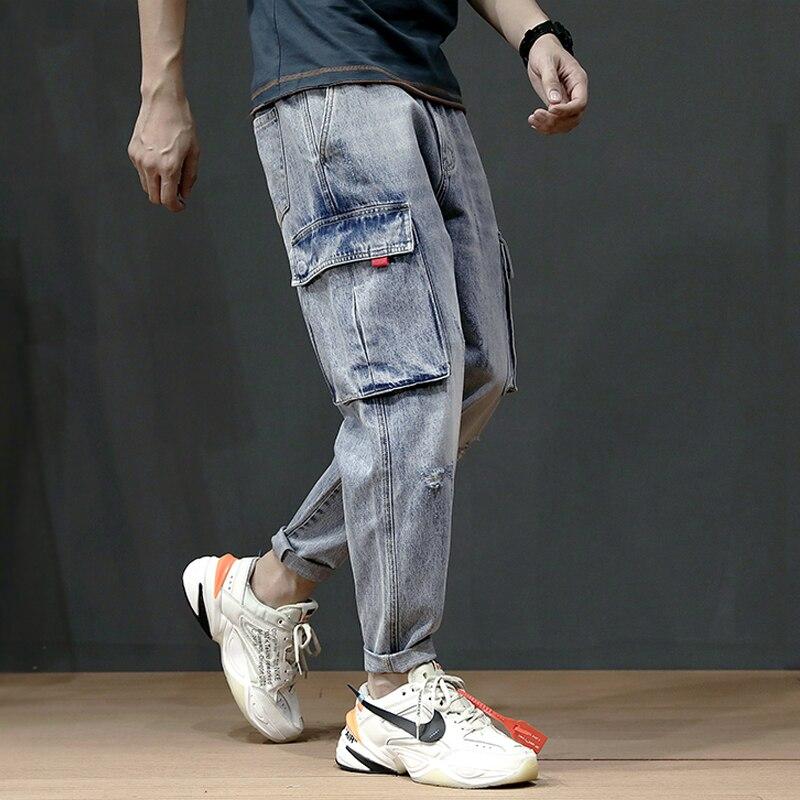 Japanese Style Vintage Men Jeans Summer Fashion Loose Fit Harem Pants Big Pocket Light Blue Color Cargo Pants Hip Hop Jeans Men