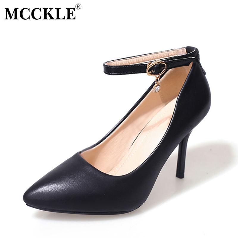 MCCKLE Woman High Heels Dress Pumps Female Pointed Toe Buckle Crystal Pendent Movable Strap Stiletto Shoes Women Plus Size pointed toe dress shoes ladies pumps high heels ankle strap footwear 4 34 small size crystal stiletto 2017 7cm 3 inch silver