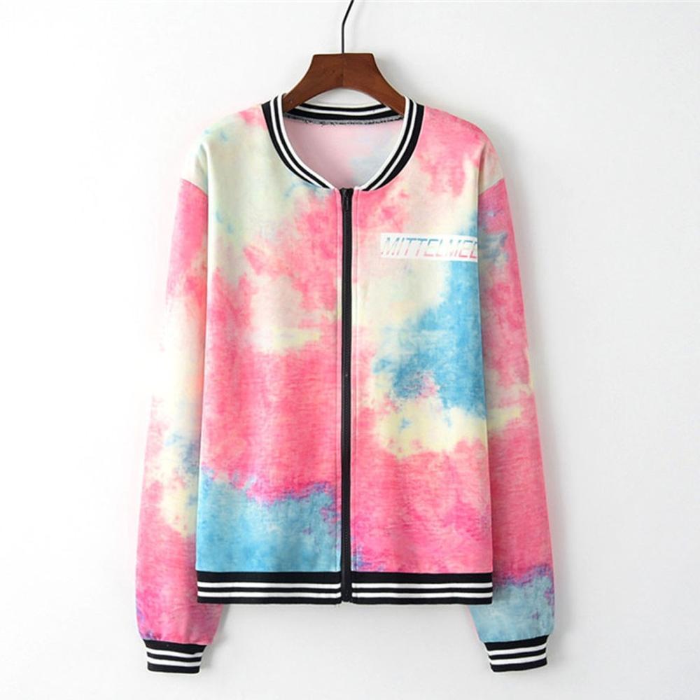 jacket Women Long Sleeve Tie Dye Print Zipper Pockets Casual Sport Coat Contrast jaqueta feminina chaqueta mujer vitality Q60