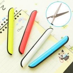 Крафтовые портативные ножницы для резки бумаги, складные безопасные ножницы, мини канцелярские ножницы, офисные и школьные принадлежности ...