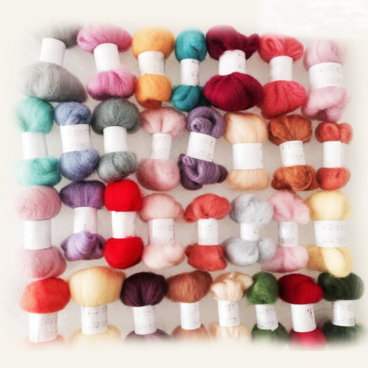 Practical 50 Colors Wool Fibre Roving Needle Felting Hand Spinning DIY Dolls Knitting Crafts Supply Accessories