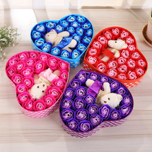 Rose Soap Flower Gift Box For Valentine's Day Birthday Gift  Soap Flower 21PCS/Box Wedding Decorative Artificial Flowers GT65Q недорого