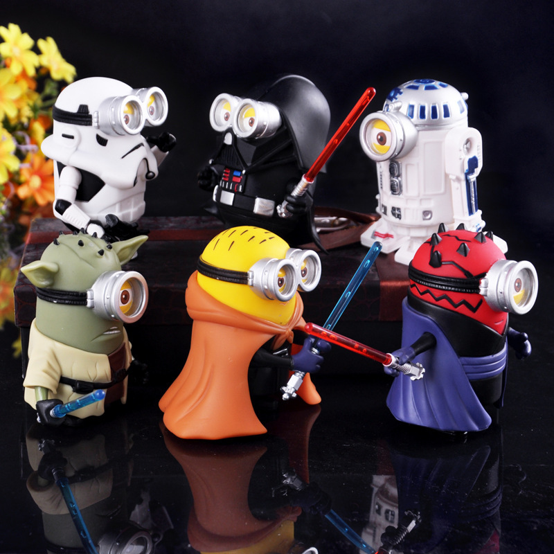 10cm 6pcs lot Minions Cosplay star wars Yoda Darth Maul Skywalker Black warrior Action Figures Doll