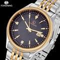 FORSINING relógio clássico dos homens de negócios de quartzo relógios auto data ouro cinta de aço à prova d' água moda relógio ocasional relogio masculino