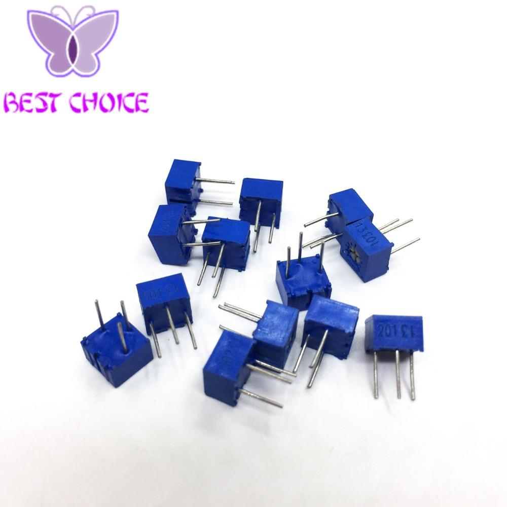 13 values 3362P Potentiometers Kit 3362 MultiTurn Trimming High Precision Potentiometer 3362W Variable Resistors 100R-1M