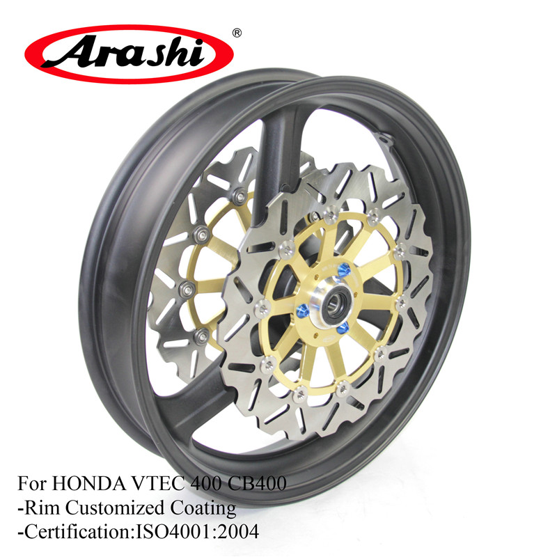 Arashi For HONDA VTEC 400 99-14 Motorcycle Front Wheel Rim Brake Disc Rotors VTEC400 CB400 CB 400 99-08 09 10 11 2012 2013 2014 motorcycle accessories aluminum balance foreshock front fork brace for honda cb400 vtec 02 2015 cb1300sf 04 2013 free shipping
