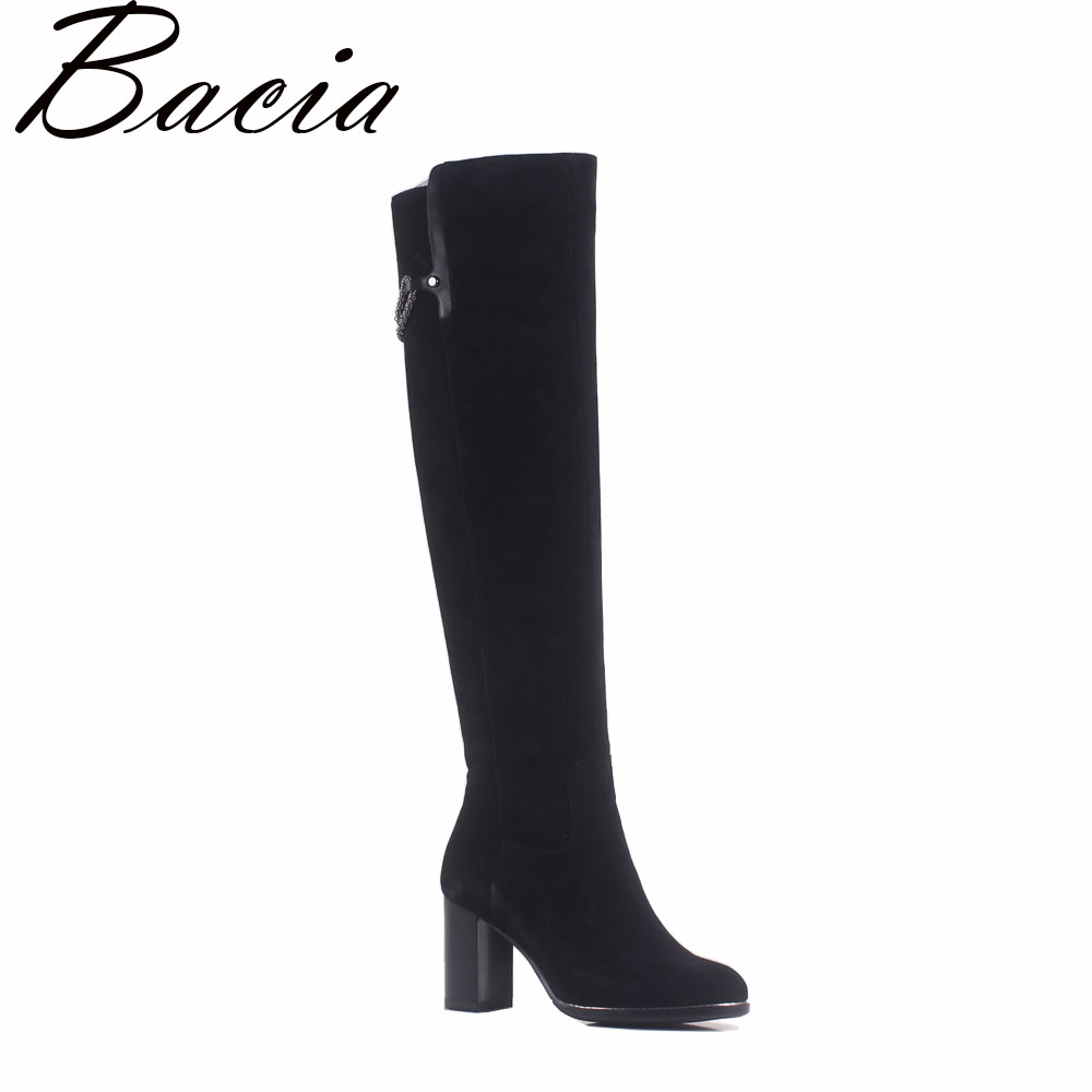 Bacia Fashion Sheep Suede Pointed toe Boot Square Heels Knee Boots Autumn High Boots Women Natural LeatherShoes Size 35-40 MA013
