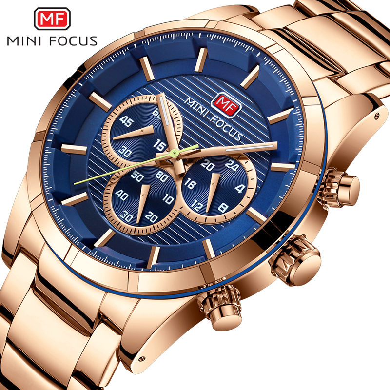 MINIFOCUS Luxury Men Watches Stainless Steel Men's Wristwatch Quartz Watch Waterproof Montre Homme Male Clock Relogio Masculino mens stainless steel band watch with big round dial male analog quartz metal sports wristwatch relogio masculino montre homme