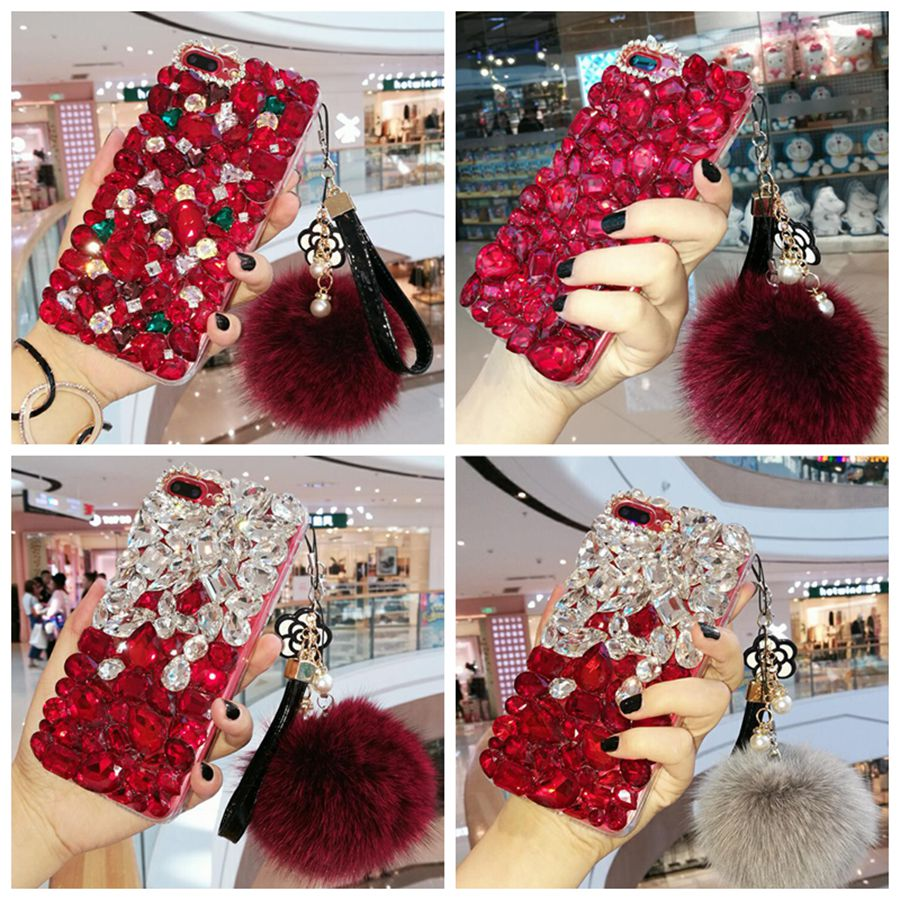 China Red 3D Bling Crystal Soft Back Cover for Samsung Galaxy Note4 5 S9 S9Plus Rhinestones Quality Phone Case For GalaxyNote8 9