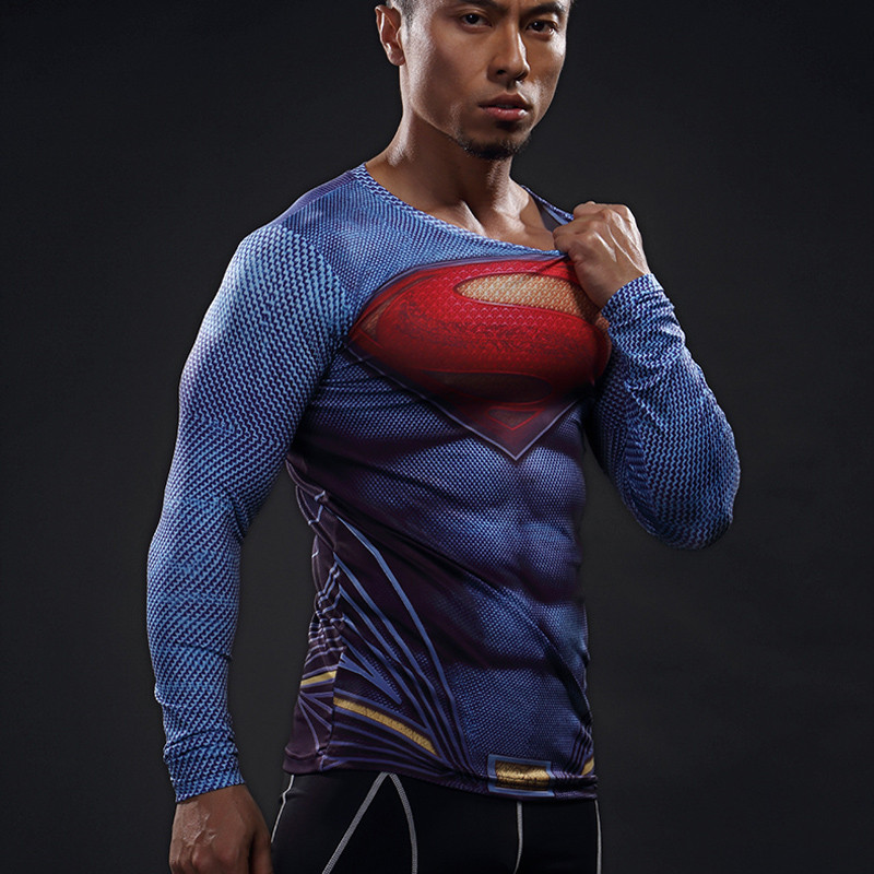 Mens Football Jerseys Compression 3D T Shirts Breathable Superhero - Pakaian sukan dan aksesori