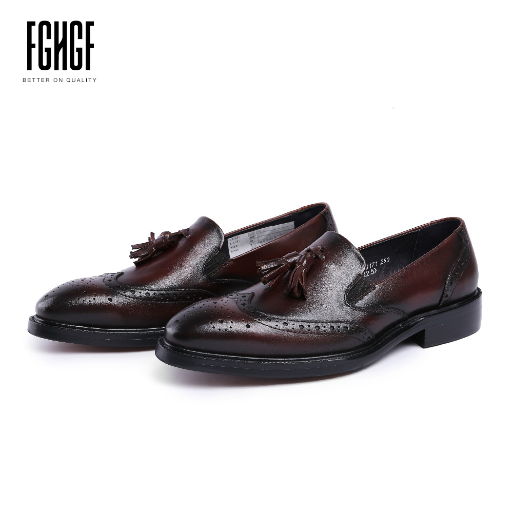 Classic Men's Loafers Shoes Genuine Leather Cowhide Leather Round Toe Oxfords Style Dress Wedding Business 2018 Tessal 247 classic leather