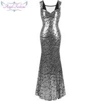 Angel fashions Cap Sleeve Sequin Mermaid Long Evening Dress robe de soiree Black Silver 297