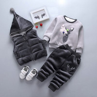 Winter baby boys girls clothes outfits sets vest jacket sweater pants 3pcs suit for newborn baby boys girl clothing birthday set