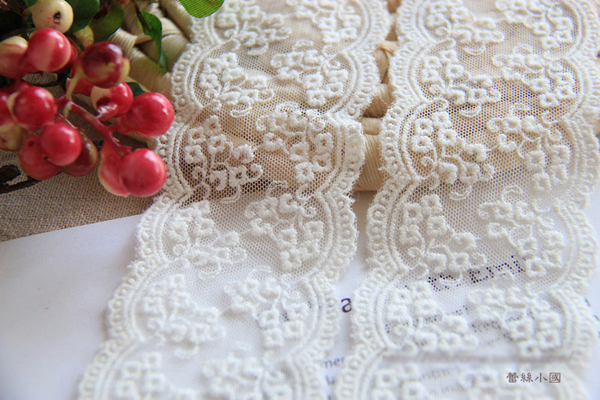 Yards lot handmade cm embroidered white floral applique fabric