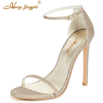 Female Shoes Women Ladies Sandals Sequined Cloth Silvery solid Pointed Toe Ankle-Wrap Buckle Super High Square heels Basic 2019