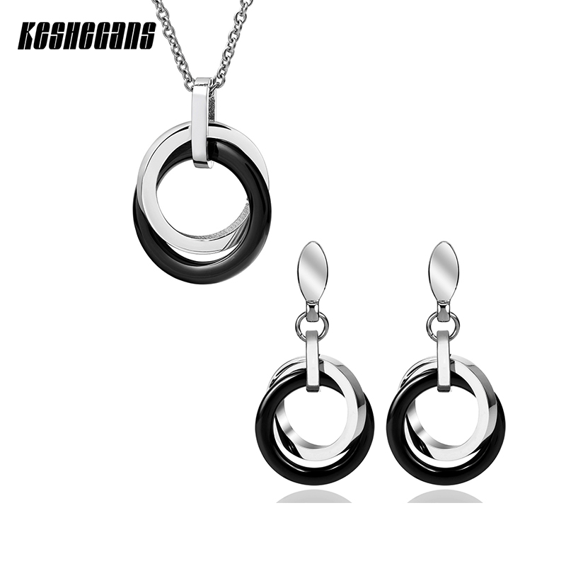 Double Circle Necklace & Earrings Set Black Ceramic Fashion Jewelry Sets For Women Drop Earrings & Pendant Necklace Party Gifts water drop jewelry sets for women fashion jewellery nature stone with crytal glass stud earrings and pendant necklace of party