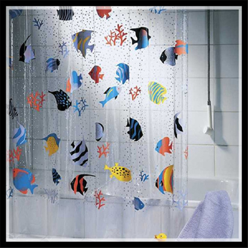 New Creative Cartoon Shower Curtain Fish PVC Bathroom Products Waterproof Transparent Rideau De Douche 180200cm 12 Hooks In Curtains From Home