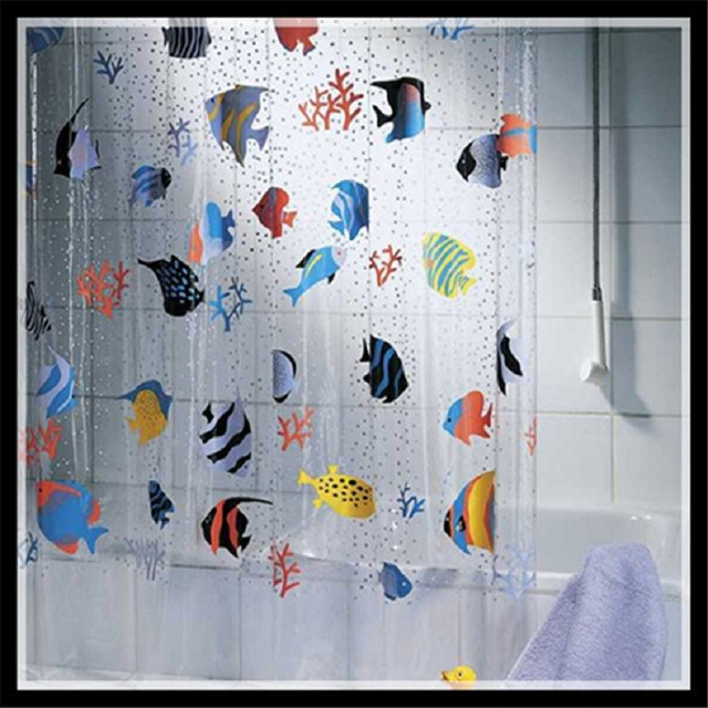 New Creative Cartoon Shower Curtain Fish PVC Bathroom Products ...