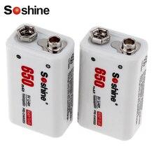 2 шт.! Soshine 650 мАч 9 В литий-ионный Перезаряжаемые Батарея 9 вольт Перезаряжаемые литиевых Батарея