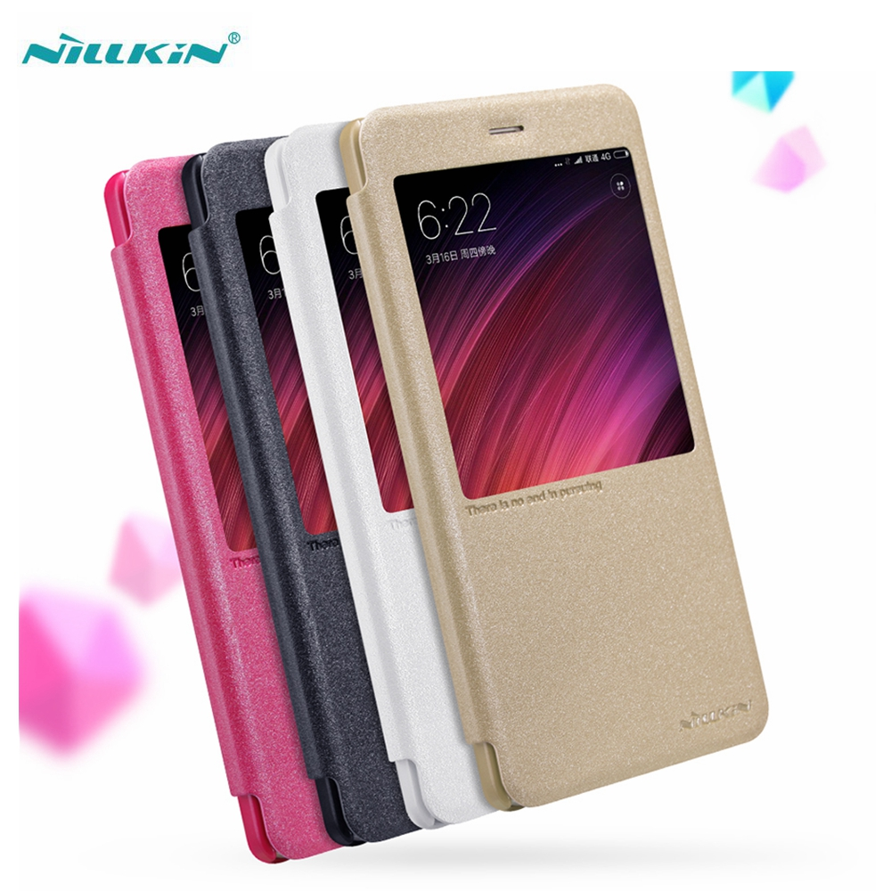 NILLKIN Sparkle Series Smart Case for Xiaomi Redmi Note 4 Phone Bag Window PU Leather Cases