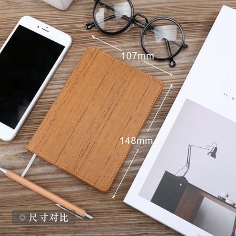 Black Notebook A6 PU Leather Can be torn Wood Notepad Stationery Travel Planned with Molang Diary fashion Office student Supplie