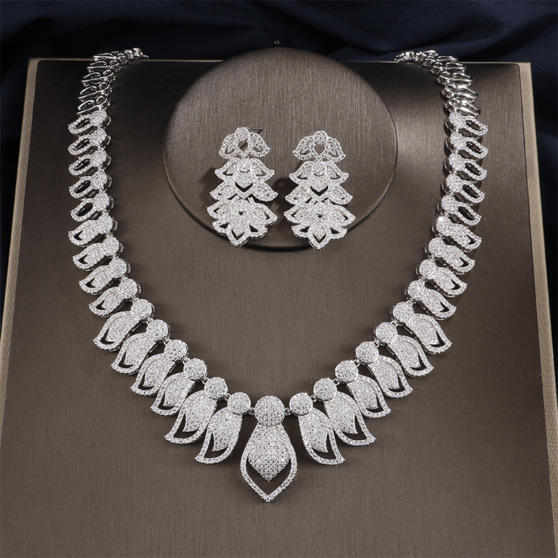 Fashion Necklace Earring Set Creative European And American Style High Quality Women's Jewelry Set Wedding Bridal Party Jewelry цена