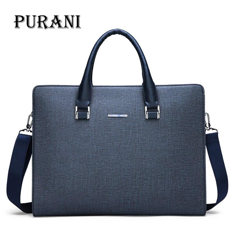 PURANI Men's Briefcase Man Totes Bag For Documents Laptop Briefcases Men's Shoulder Bag Male High Quality Business Messenger Bag