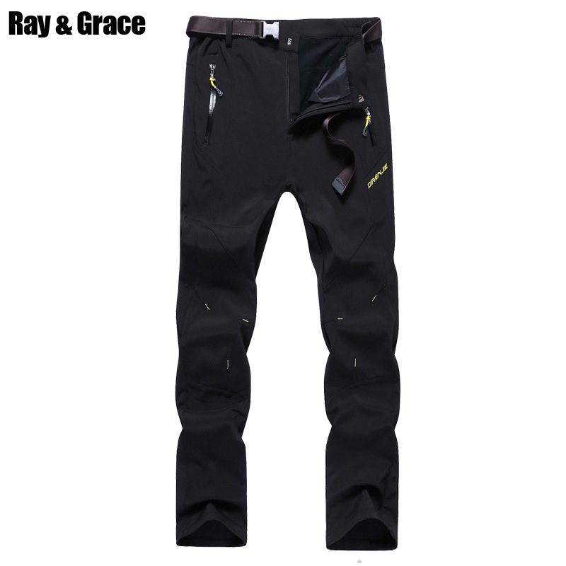 RAY GRACE Winter Softshell Pants Men Outdoor Trekking Hiking Camping Waterproof Hunting Fishing Thermal Trousers Male Pantalon outdoor softshell hiking pants men 5xl 6xl 7xl 8xl waterproof breathable bottoms male trekking sports large size trousers