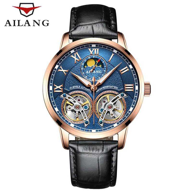 Top Brand Luxury AILANG Watch Men Automatic Mechanical Watches Double Tourbillon Sapphire Glass Genuine Leather Waterproof 30M ailang mens watches top brand luxury sports double tourbillon automatic mechanical brand watch men genuine leather strap watches