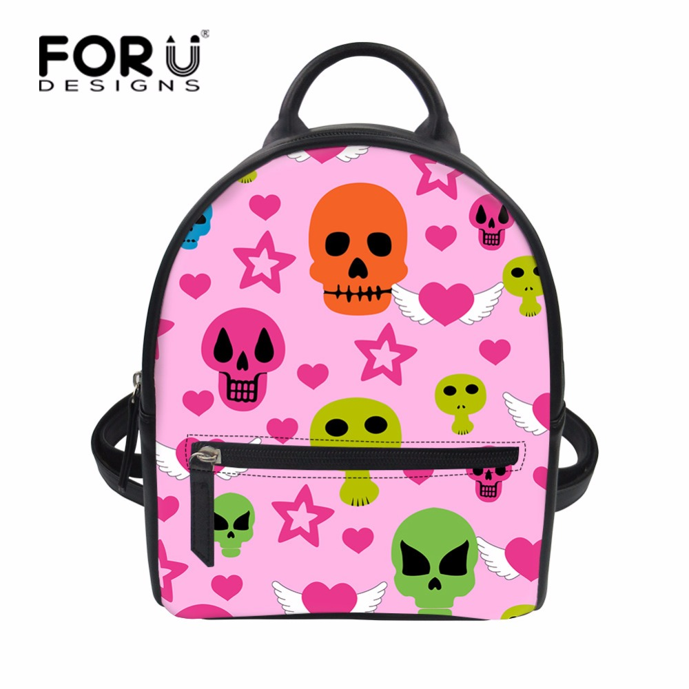 FORUDESIGNS Women PU Leather Backpack Children Knapsack Mini Infantry Pack Cool Skull for Teenage Girls Small School Bag