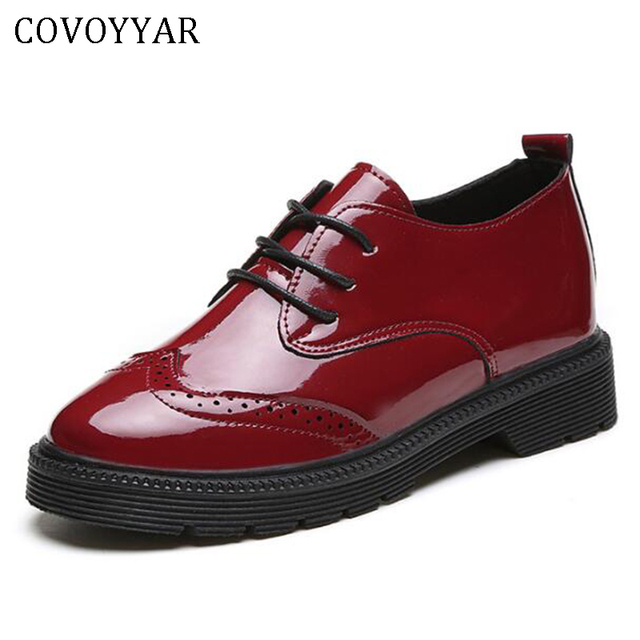 COVOYYAR 2019 Women Oxford Shoes Flat Heel Lace Up Cut Out Brogues British Style Patent Leather Lady Shoes Retro Creepers WFS401
