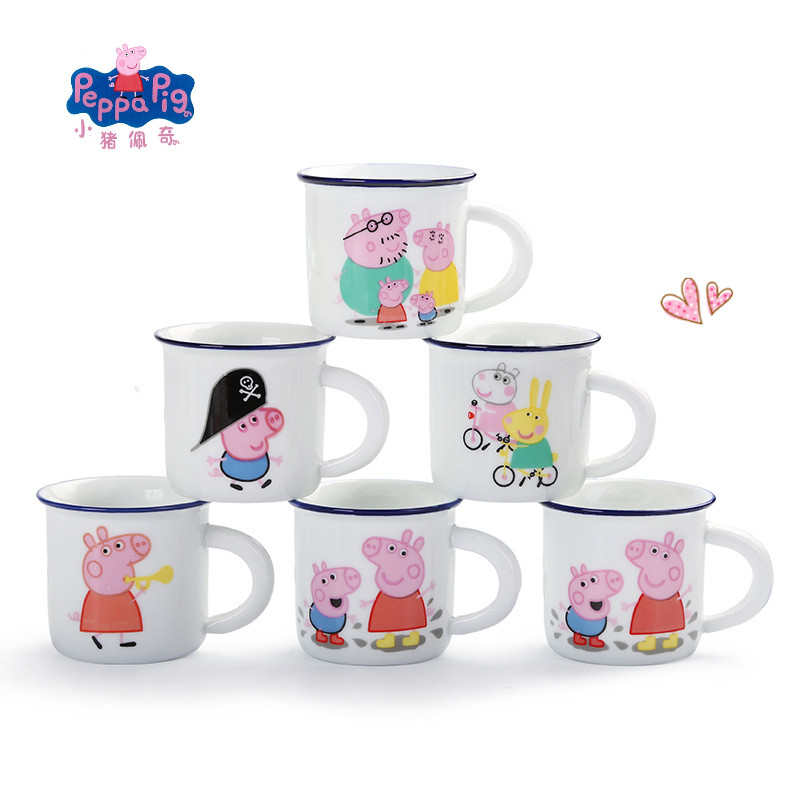 Peppa Pig Cute Ceramic Cup Water Cup Student Kindergarten Drinking Water Cup George Action Character Anime Toy Children's Gift