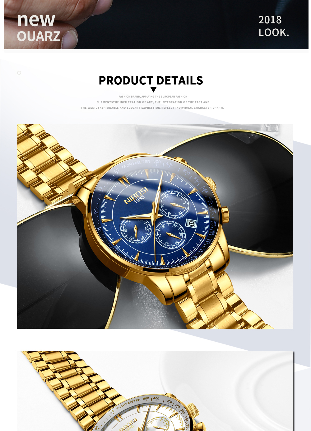 NIBOSI Gold Watch Mens Watches Top Brand Luxury Sport Men's Quartz Clock Waterproof Military Wrist Watch Relogio Masculino Saat 15