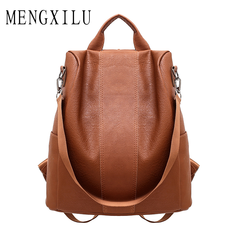 MENGXILU High Quality Pu Leather Backpack Women Patchwork Casual Daypacks Female Anti-Theft Backpacks For Teenage Girls Shoulder