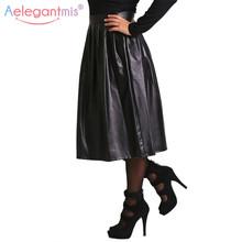 Aelegantmis High Quality Pu Leather Skirt Women Autumn Winter High Waist Long Pleated Skirt Lady Casual