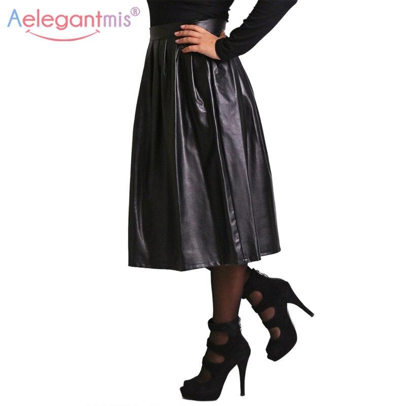 Aelegantmis высокое качество из искусственной кожи юбка Для женщин Демисезонный Высокая Талия Длинные юбка в складку Женская Повседневное одноцветное вечерние макси юбка купить на AliExpress