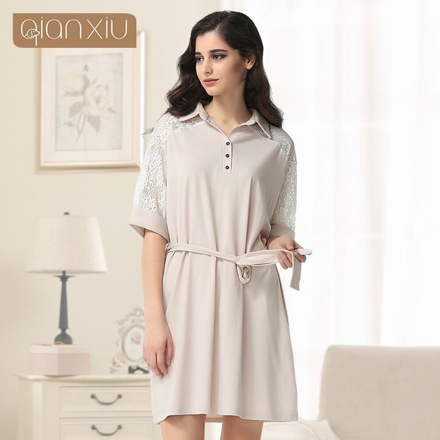 Qianxiu Nightgown For Women Turn-down Collar Robe Solid Sexy Lace Pyjamas Women