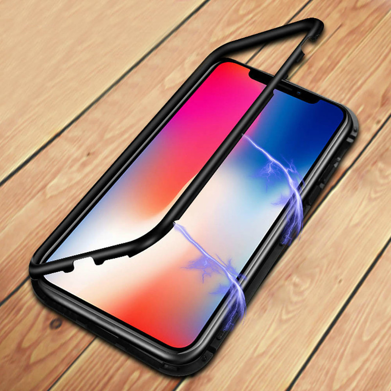 Luxury Tempered Glass Magnetic Adsorption Phone Case For iPhone XS Max X XR 8 7 Plus 6 6s Double Sided Glass Magnet Cover X Case in Fitted Cases from Cellphones Telecommunications
