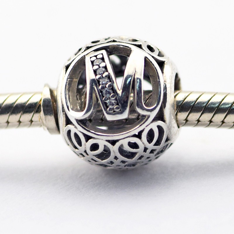2016 spring jewelry 925 sterling silver collection letter m beads fits pandora charms bracelet original beads for jewelry making
