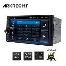 ARKRIGHT 7 2 Din 4 + 64 GB Android 8.1 Radio samochodowe/Radio samochodowe Wifi HD wsparcie GPS SWC /szybki rozruch/BT/4G karty SIM odtwarzacz samochodowy