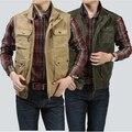 2014 военный стиль мужской бренд жилет, мужские мульти-карман жилета, 100% чистого хлопка жилет куртка и мульти-карман жилета мужчин